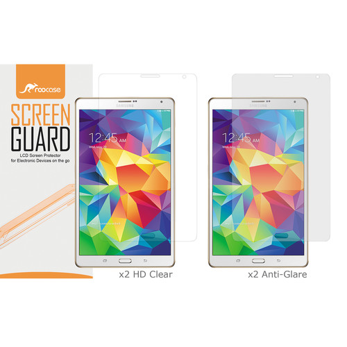 "rooCASE HD Clear and Anti-Glare Screen Protectors for Galaxy Tab S, 8.4"" (4-Pack)"