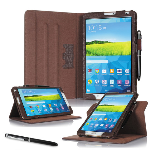 """rooCASE Dual View Folio Case Cover for Samsung Galaxy Tab S 8.4"""" (Brown)"""