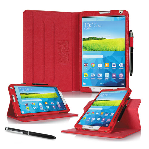 """rooCASE Dual View Folio Case Cover for Samsung Galaxy Tab S 8.4"""" (Red)"""