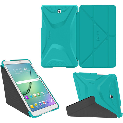 rooCASE Origami 3D Case for Samsung Galaxy Tab S2 8.0 (Turquoise Blue / Gunmetal Gray)