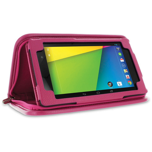 rooCASE Executive Portfolio Leather Case Cover with Stylus for Google Nexus 7 FHD (Magenta)