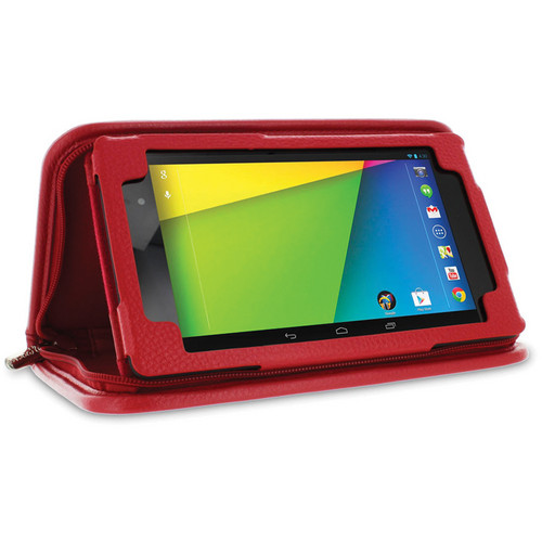rooCASE Executive Portfolio Leather Case Cover with Stylus for Google Nexus 7 FHD (Red)