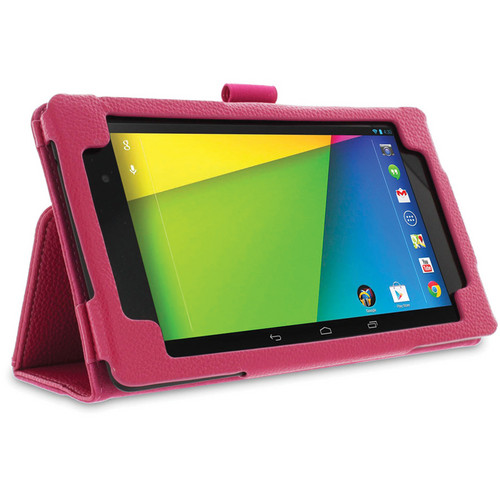 rooCASE Dual Station Folio Case Cover with Stylus for Nexus 7 FHD 2nd Generation (Magenta)