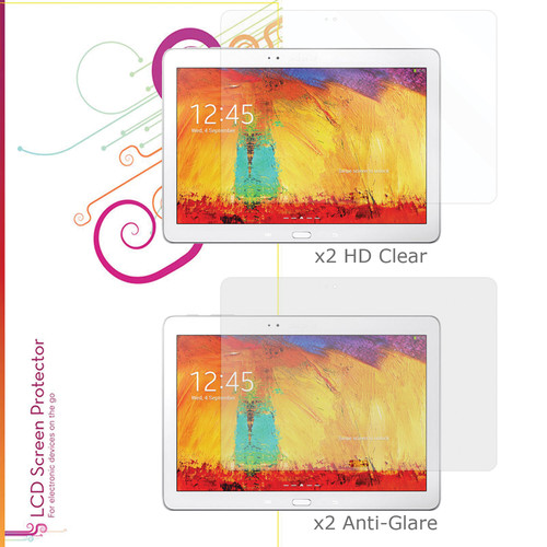 "rooCASE HD Clear and Anti-Glare Screen Protectors for Galaxy Note, 10.1"" (4-Pack)"