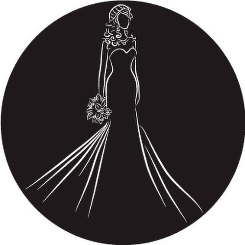 Rosco Bride Silhouette with Bouquet B/W Wedding Glass Gobo (Custom Size)