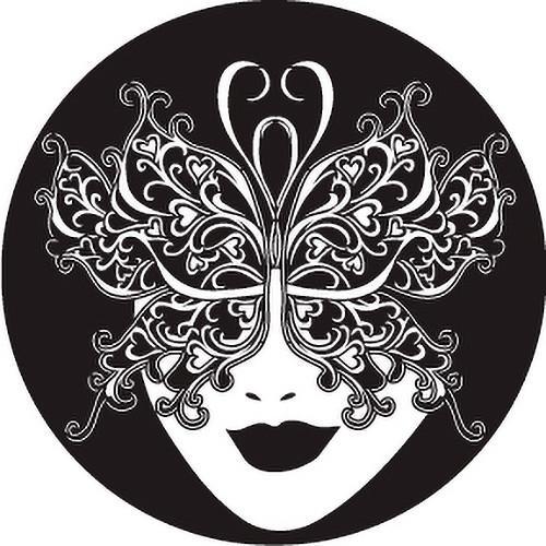 Rosco Carnival Butterfly Mardi Gras Mask B/W Glass Gobo (Custom Size)