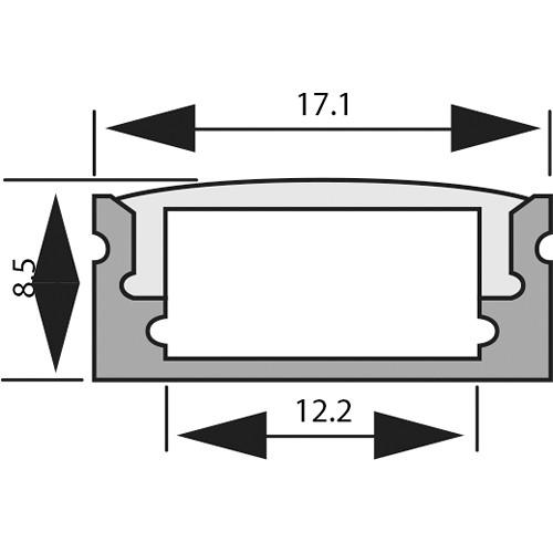 Rosco RoscoLED Tape Slim Rectangular Profile - 1707 Kit with Frosted Lens (3.3')