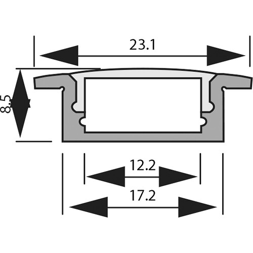 Rosco RoscoLED Tape 2507 Flush-Mount Profile Kit with Clear Lens (3.3')