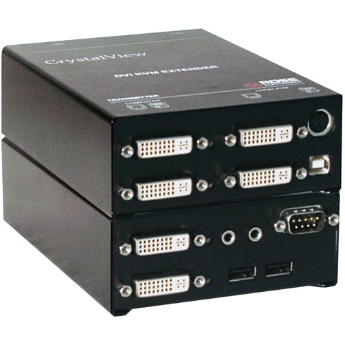 Rose Electronics CrystalView DVI / PS/2 Single-Mode Digital Fiber KVM Extender Unit with Stereo Audio (Up to 33,000', Dual Head)