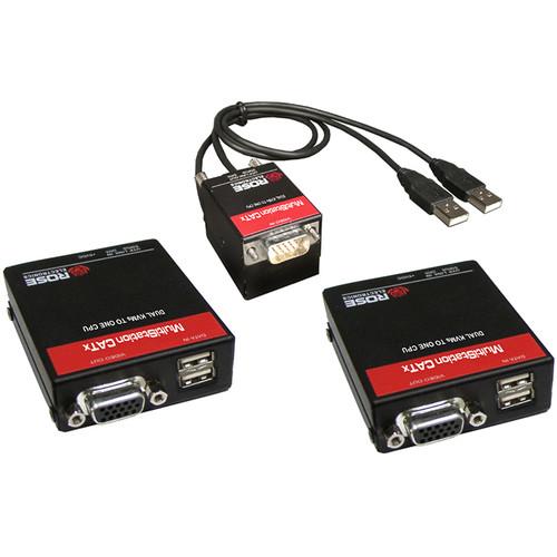 Rose Electronics MultiStation CATx Dual Access USB, VGA KVM to Single CPU Extender Kit (Up to 1000')