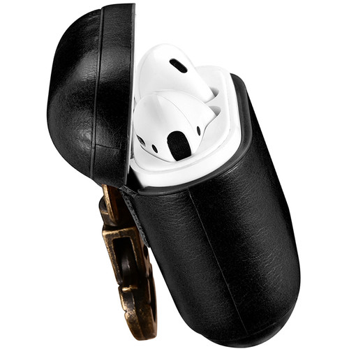 Royal Individual AMZELCHK-1BL Hook Series Leather AirPods Case (Black)
