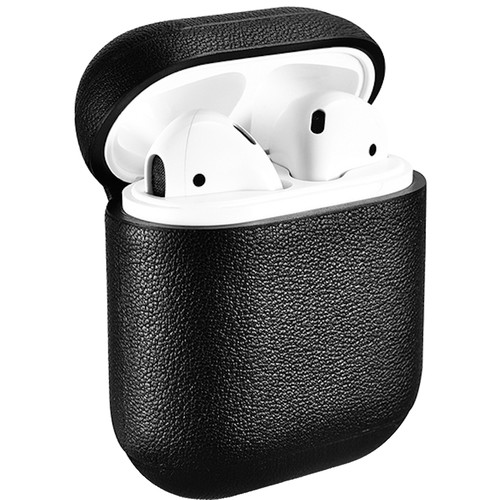 Royal Individual AMZELCLP-1BLK Speckle Collection Nappa Leather Grain Texture AirPods Case (Black)
