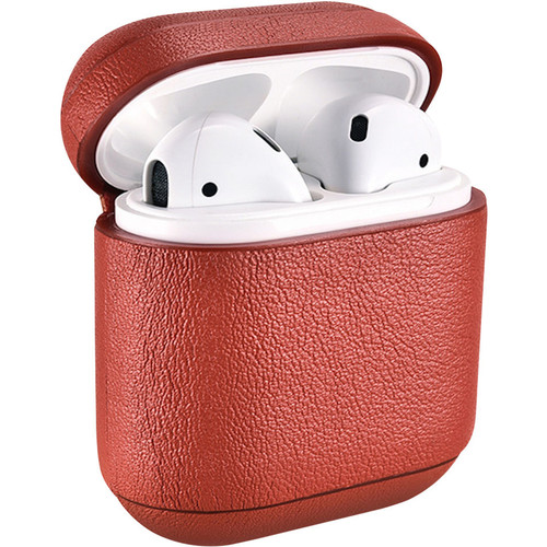 Royal Individual Speckle Series Nappa Leather Case with Grain Texture for Apple AirPods (Red)