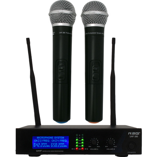 RSQ Audio UHF-380 2-Channel Fixed Frequency Receiver with Handheld Microphone