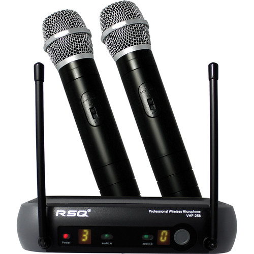 RSQ Audio VHF-258 Dual-Channel Professional Wireless Microphone System (150 to 270 MHz)