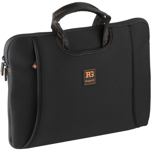 "Ruggard 14"" Ultra Thin Laptop Sleeve with Handles (Black/Orange)"
