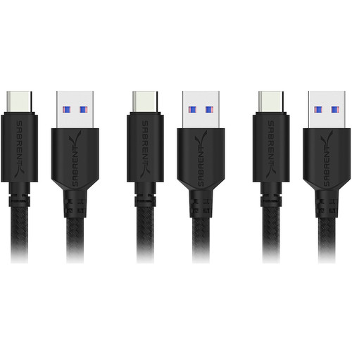 Sabrent USB 3.1 Gen 1 Type-A Male to Type-C Male Sync and Charge Cable (1', Black, 3-Pack)