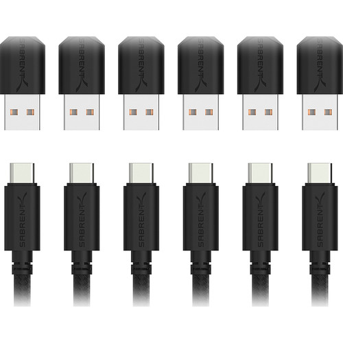 Sabrent USB 2.0 Type-A Male to Type-C Male Sync and Charge Cable (3', Black, 6-Pack)