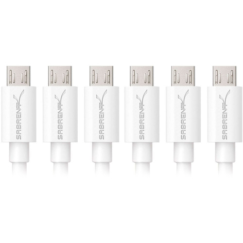 Sabrent USB 2.0 Type-A Male to Micro-B Male Cable (1', White, 6-Pack)