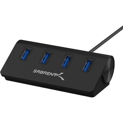 Sabrent USB 3.0 4-Port Aluminum Hub (Black)