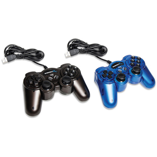 Sabrent 12-Button USB 2.0 Game Controllers (2-Pack - One Blue, One Black)