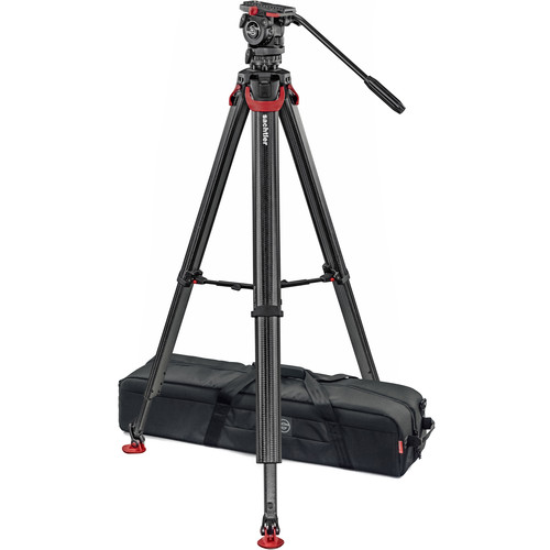 Sachtler System FSB 4 Fluid Head with Sideload Plate, Flowtech 75 Carbon Fiber Tripod with Mid-Level Spreader and Rubber Feet