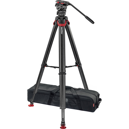 Sachtler System FSB 8 Fluid Head with Sideload Plate, Flowtech 75 Carbon Fiber Tripod with Mid-Level Spreader and Rubber Feet