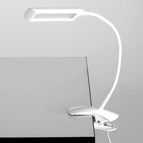 Safco 6W Clamp-On Led Task Light With Flexible Arm/ 3-Step Dimmer (White)