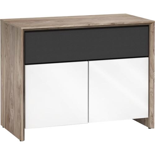 Salamander Designs Barcelona 329 A/V Cabinet (Natural Wanut/Gloss White)