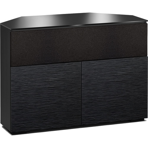 "Salamander Designs Chicago 329CR 44"" Corner TV Stand AV Cabinet in Textured Black Oak w/ Black Glass"
