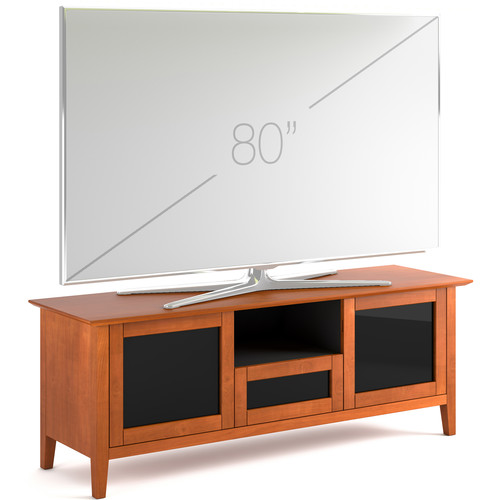"""Salamander Designs Audio/Video Cabinet in Light Cherry with Smoked Glass Doors (71 x 26 x 21.25"""")"""
