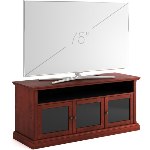 """SALAMANDER DESIGNS Audio/Video Cabinet in Warm Cherry with Smoked Glass Doors (66 x 29 x 20"""")"""