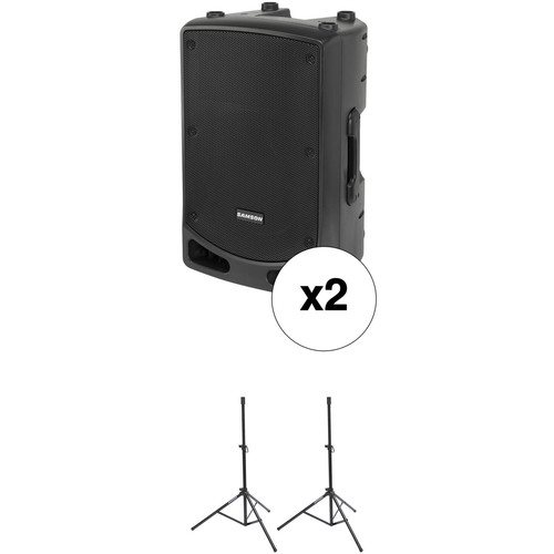 "Samson Expedition XP112A 12"" 500W Active PA Speakers with Stands Kit"
