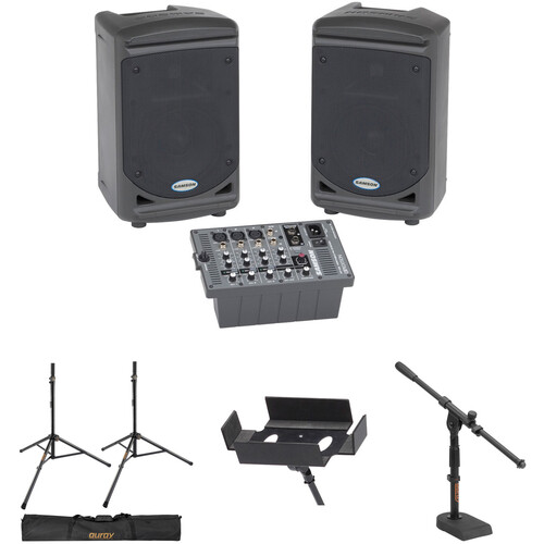 Samson Expedition XP150 Portable PA System Kit with Speaker and Mixer Stands