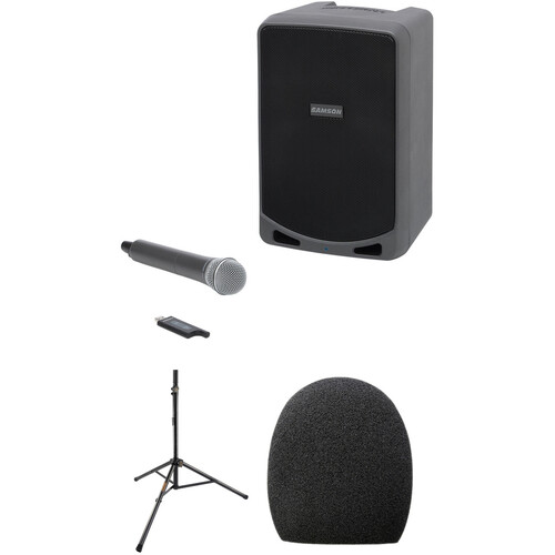 Samson Portable PA System with Microphone, Windscreen & Speaker Stand - Kit
