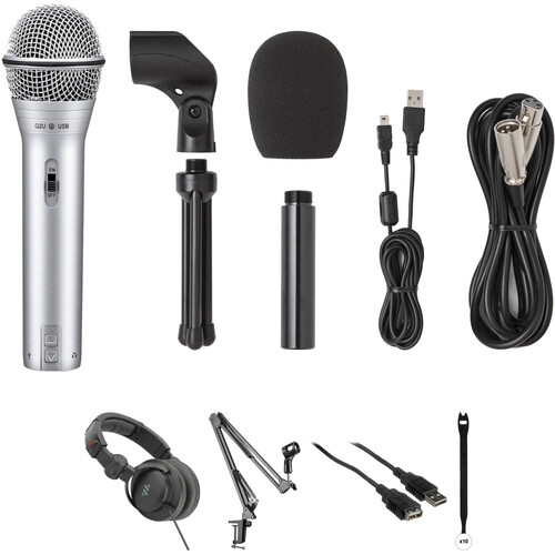 Samson Q2U Recording & Podcasting Kit with Microphone, Crane Arm, Cables, and Straps