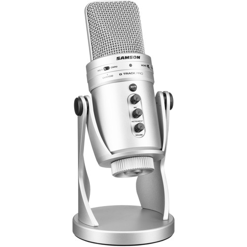 Samson G-Track Pro USB Microphone with Built-In Audio Interface (Silver)