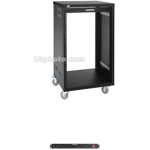 Samson Universal Equipment Rack with PowerStrip PS15 Power Distributor (21 RU)