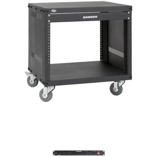 Samson Universal Equipment Rack with PowerStrip PS15 Power Distributor (8 RU)