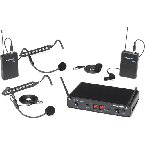 Samson Concert 288 Presentation Dual-Channel Wireless Microphone System with 2 Headset Mics & 2 Lav Mics (I: 518 to 566 MHz)