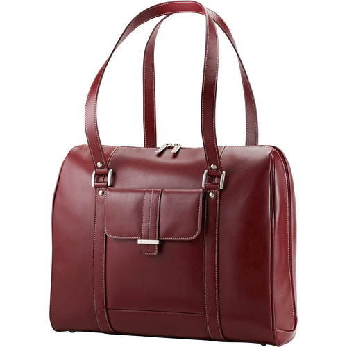 "Samsonite Leather Business Satchel (17""/Red)"