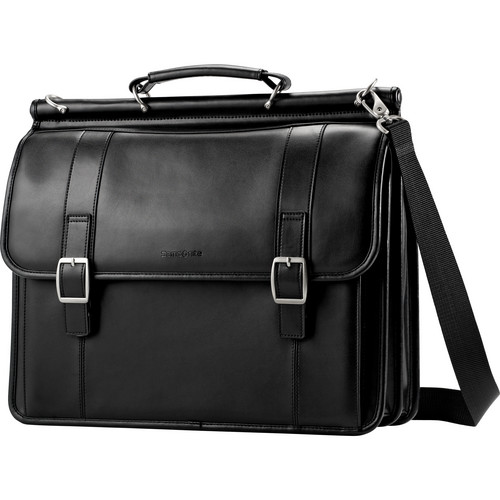 Samsonite Leather Dowel Flapover Business Case Black