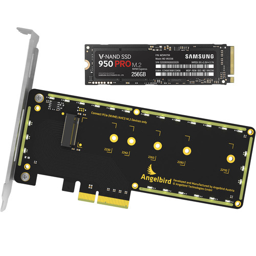 Samsung 256GB 950 Pro M.2 NVMe Internal SSD with Angelbird Wings PCIe x4 M.2 Adapter
