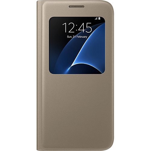 Samsung S-View Flip Cover for Galaxy S7 (Gold)