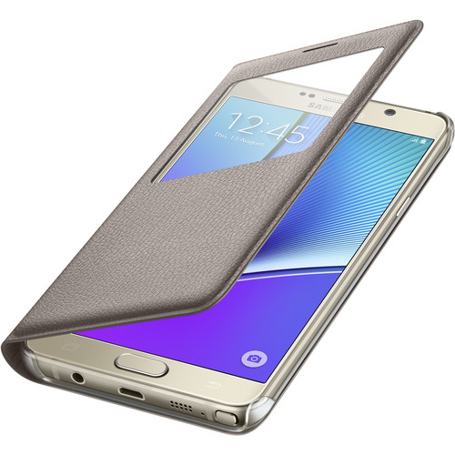 Samsung S-View Flip Cover for Galaxy Note 5 (Gold)