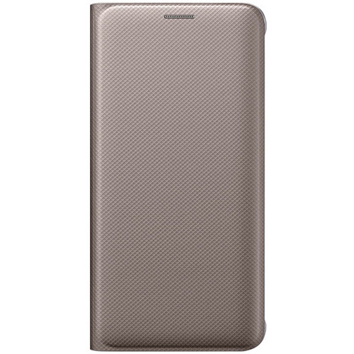 Samsung Wallet Flip Cover for Galaxy S6 edge+ (Gold, Polyurethane Leather)