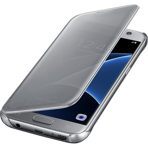 Samsung S-View Flip Cover for Galaxy S7 (Clear Silver)