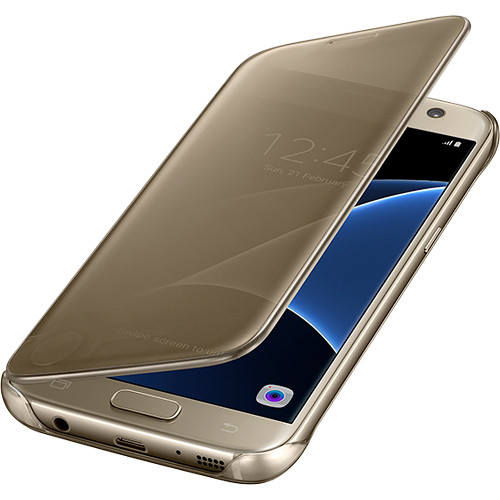 Samsung S-View Flip Cover for Galaxy S7 edge (Clear Gold)
