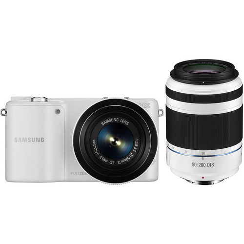 Samsung NX2000 Mirrorless Digital Camera with 20-50mm and 50-200mm Lenses (White)