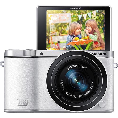 Samsung NX3000 Mirrorless Digital Camera with 20-50mm Lens (White)